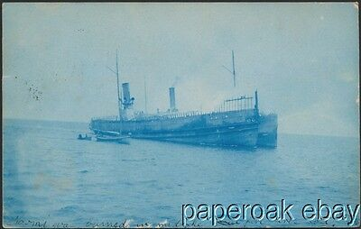 1907 Crosby Steamer Naomi That Caught Fire On Great Lakes Real Photo Posdtcard