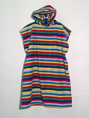 Surf Changing Robe Rainbow Stripe Multi Polar Fleece Hooded Beach Change Poncho