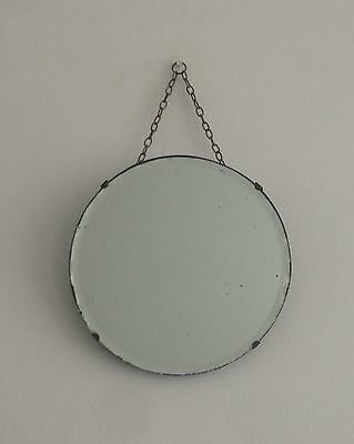 Small Art Deco Round Frameless Scalloped Edge Hanging Wall Mirror With Chain