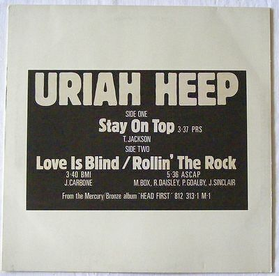 "URIAH HEEP UK 1983 WHITE LABEL PROMO 12"" Single Stay On Top BROX168"