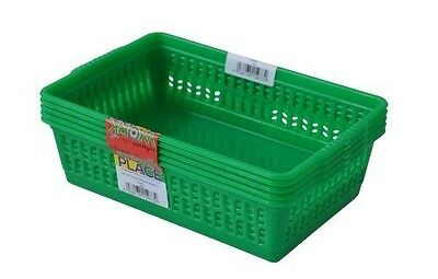 Set Of 5 Small Handy Baskets - Green