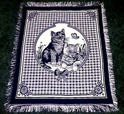 Kittens & Butterfly Beige & Blue Tapestry Afghan Throw Blanket Wall Decor 43X50