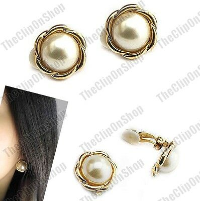 CLIP ON faux pearl 1.4cm EARRINGS cream GOLD/SILVER FASHION round retro clips