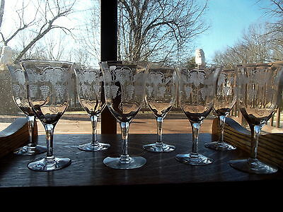 (8) Water or Wine Glasses Tiffin Franciscan Crystal Vintage Grape #14180