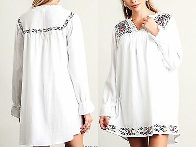 Umgee Dress Size XL S M L Embroidered Long White Tunic Boho Womens Boutique New