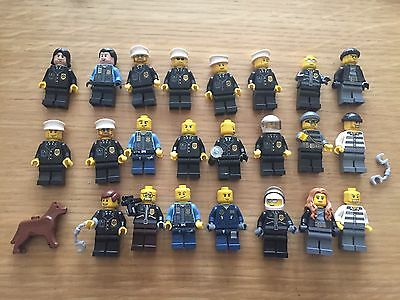 Lego City 18 Police Officer Cop Figures 5 Villain Robbers Criminals + Police Dog
