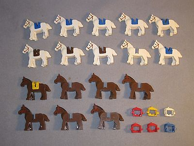 Lego Horses Animal Horse lot of 17 Brown & White w/ extra damaged Saddles