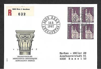 Switzerland 1967 Registered First Day Cover #455 Block Of 4, Definitive !!