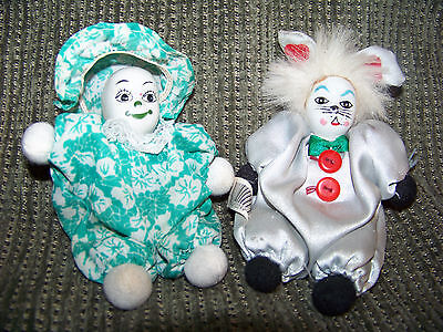 5-inch glass miniature clown pair; mouse clown with tail; repairs expertly made