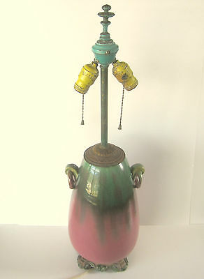 Fantastic Fulper Lamp / Vase Cir. 1930 Works Mauve & Green 2 Ring Handles
