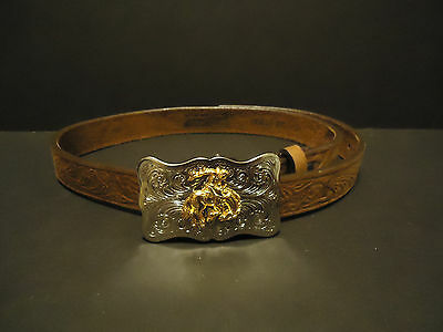 Boys Justin Belt With Bronc Riding Buckle Size 28 Length Cowhide Made In USA