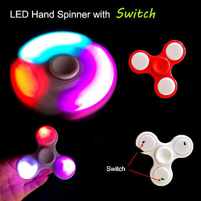 LED Light Tri Fidget Spinner Hand Finger EDC GYRO ADHD Focus Toy With Switch