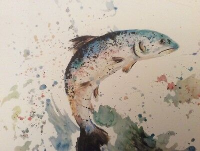 Limited signed print of my original painting A4 wild salmon