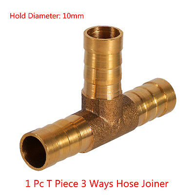Brass T Hose Joiner Barbed Splitter Connector Air Fuel Water Pipe Gas Tubing LY