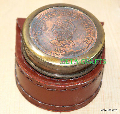 Antique Brass Compass With Leather Cover Vintage Brass Compass Removable Cap LID