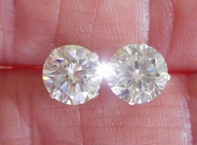 EARRING PAIR SILVER 2.64TCW 1.32ct  VVS1 7.40mm ICY WHITE ROUND MOISSANITE