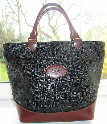 *reduced* Authentic Mulberry Black Scotchgrain & Brown Leather Hellier Hand Bag