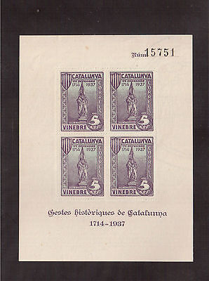Spain Civil War, Souvenir Sheet Perf, Mint, Catalunya 1714-1937 !!