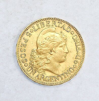 1886 ARGENTINA GOLD 5 Peso/Argentino Coin EXTRA FINE/ALMOST UNCIRCULATED