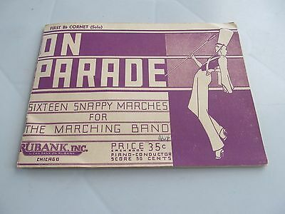 Vintage 1937 On Parade Folio Marching Band Music Booklet First Cornet Solo