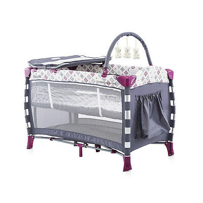 Travel Cot Casablanca with Changing MAT, Toy Bar, and NewBorn Baby Layer
