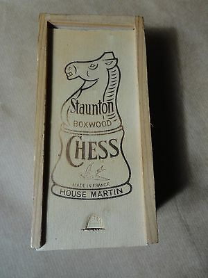 Vintage Staunton Boxwood Chess Set And Box - Made In France By House Martin
