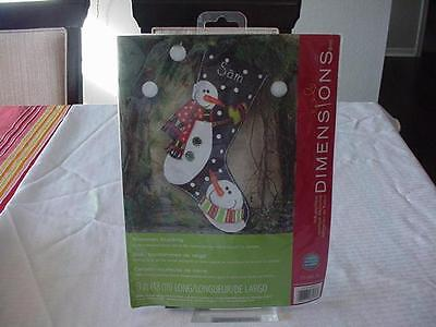 Dimensions Felt Work Applique Kit #72-08176 Christmas Snowmen Stocking Nip