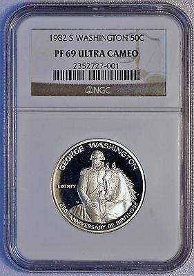 1982 S 50C US Washington Silver Half Dollar Proof Coin (NGC PF 69 Ultra Cameo)