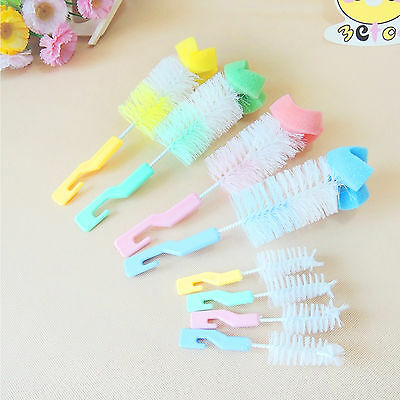 2Pcs Set Baby Child Milk Bottle Nipple Brush Cup Glass Feeder Kitchen Cleaning