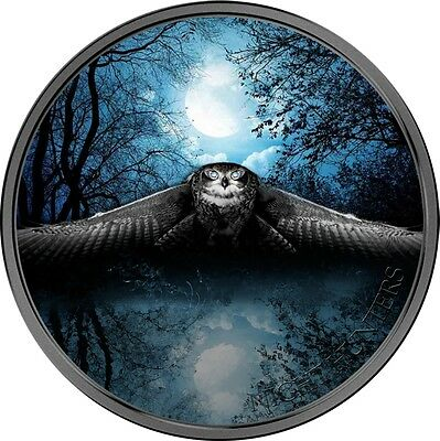 2017 Ivory Coast 3 Ounce Night Hunters Owl Colored Silver Coin Set