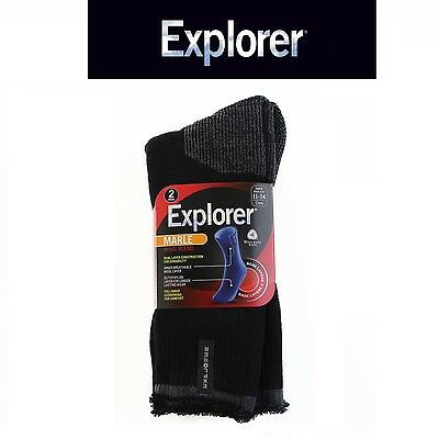 4, 6, 8 OR 10 PAIRS x MENS EXPLORER MARLE WOOL BLEND CREW SOCKS BLACK HIKING