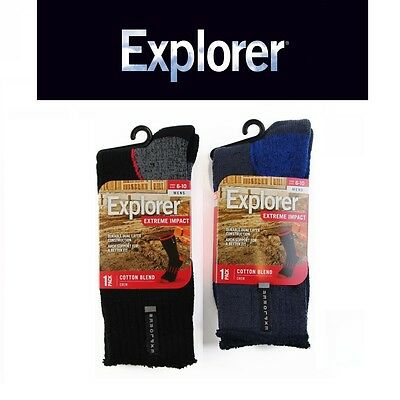 6 or 12 PAIRS x MENS EXPLORER EXTREME IMPACT COTTON BLEND CREW SOCKS HIKING