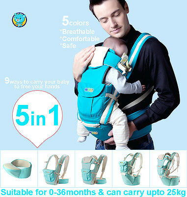 5in1 Ergonomic Baby Newborn Infant Toddler Carrier Front Back Hip 5 Colors