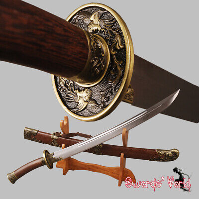 Handmade Chinese Qing Dynasty DAO damascus steel sword Rosewood decoration Cut