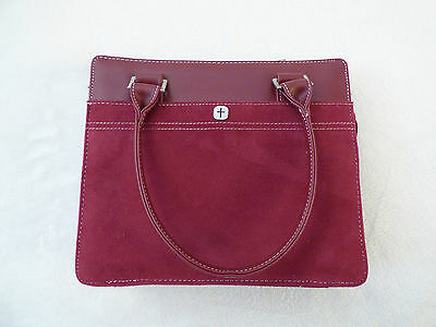 Burgundy Suede Large Church Bible Book Cover Carry Case Handle Pouch Tote Zipper