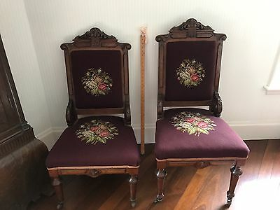 Pair of Antique Walnut His & Hers Needlepoint Upholstered Chairs Eastlake Style