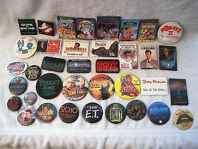 Lot Of 37 Movie Button - Pin - Badges - Ghostbusters, Rocky Horror, Et, Aliens..