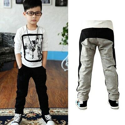 Toddler Boys Kids Casual Sports Cotton Solid Black&Grey Trousers Clothes 2-7Year