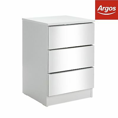 HOME Sandon 3 Drawer Bedside Chest - White and Mirrored:The Official Argos Store