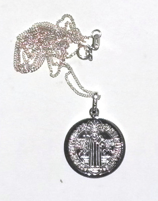 """St Benito Benedict Exorcism Medal Pendant Sterling Silver With 18"""" Chain"""