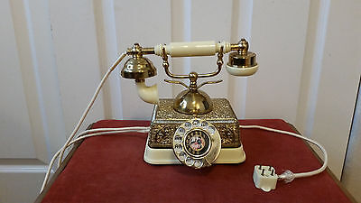 Antique Vintage French Victorian Gold Brass Rotary Phone Telephone