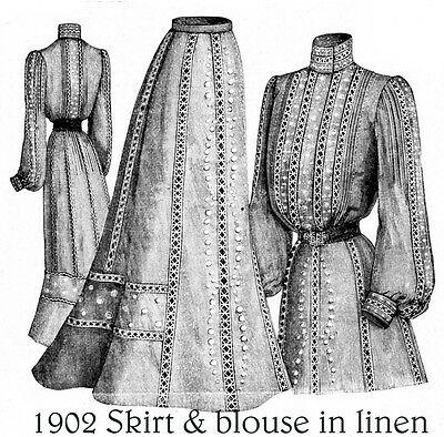 1902 Edwardian Pattern Skirt & 3 blouses - Perfect for summer  - Sized for you