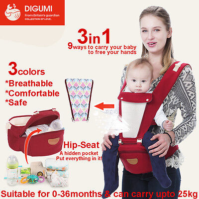 3in1 Ergonomic Baby Newborn Infant Toddler Carrier Front Back Hip 3 Colors
