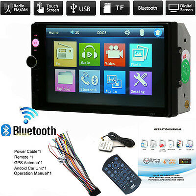 7 inch Double 2Din HD Dash Stereo Car MP5 Player Bluetooth Touch Screen FM Radio