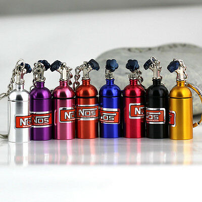 NOS Turbo Nitrogen Bottle Metal Keyfob Key Ring Holder Car Keychain Pendant