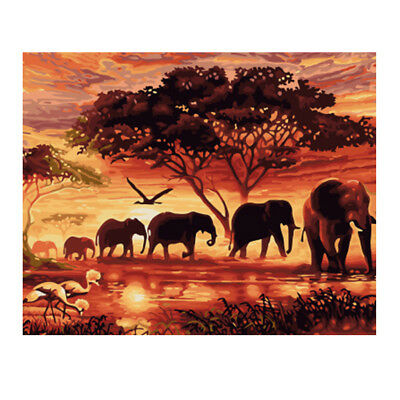 Unframed Canvas DIY Oil Painting, Paint by Number Kits - Elephants at Dusk