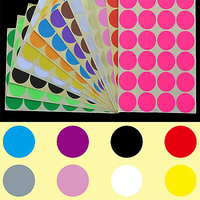 Up ANY SIZE Coloured Dot Stickers Round Spot Circles Dots Paper Labels 8 Colors