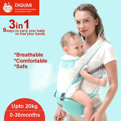 3in1 Breathable Baby Newborn Infant Toddler Carrier Front Back Hip 3 Colors