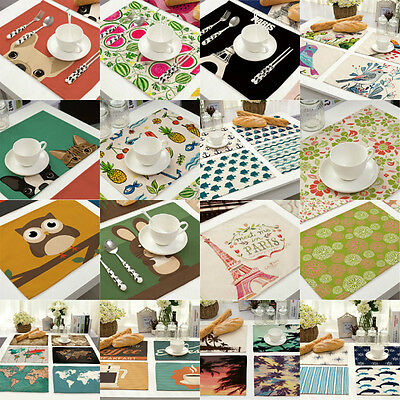 Placemats Insulation Pad Table Cotton Linen Kitchen Place Mat Coasters Dining