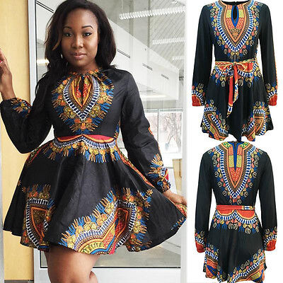 Vintage Women's Traditional African Print Dashiki Gypsy Long Sleeve Party Dress